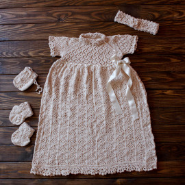 Girls Outfit Party Celebration Wear Vintage Knit Dress 3-6