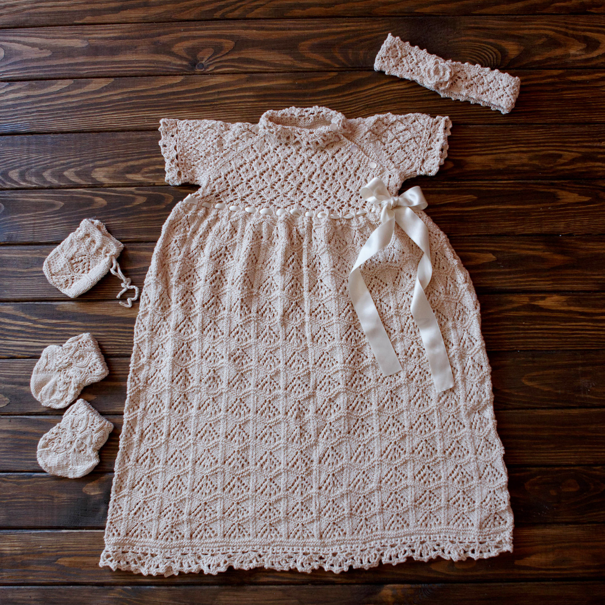 Girls Outfit Party Celebration Wear Vintage Knit Dress 3-6