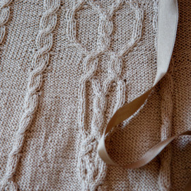 Hand Knitted Baby Girl Christening Dress 10-12months side