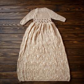 Embossed Hand Knitted Baby Girl Christening Dress, Blessing