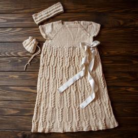 Vintage Knit Dress Taufkleid Baby Mädchen Beige 6-7 Months