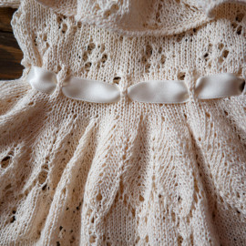 Hand Knitted Dress with lace collar Size 18 months Height 86 cm
