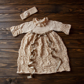 Birth Baby Girl Outfit Hand knitted Dress 6-9 months 63 - 75 cm