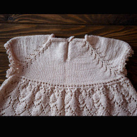 Hand Knitted Elegant Baby Girl Dress, Pattern Hearts, Seamless
