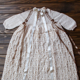 Hand knitted Loosely Knit Christening Dress, Baby boy, 7 months