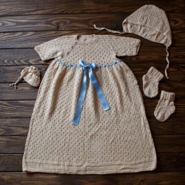 Knitted Traditional Baby Boy Christening Gown
