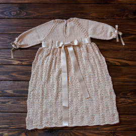 Baby Baptism Gown with Drawstring Bag & Headband, 8-10 months