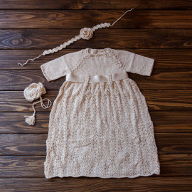 Baby Baptism Gown with Drawstring Bag & Headband 3-4 months