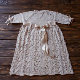 Chunky Knitted Baby Girl Dress Sunday Church Dress 10-14 months