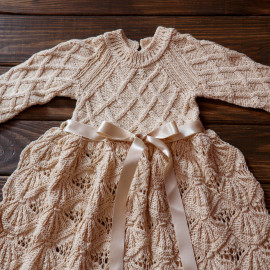 Stunning Baby Girl Christening Dress Loose Skirt Antique Lace