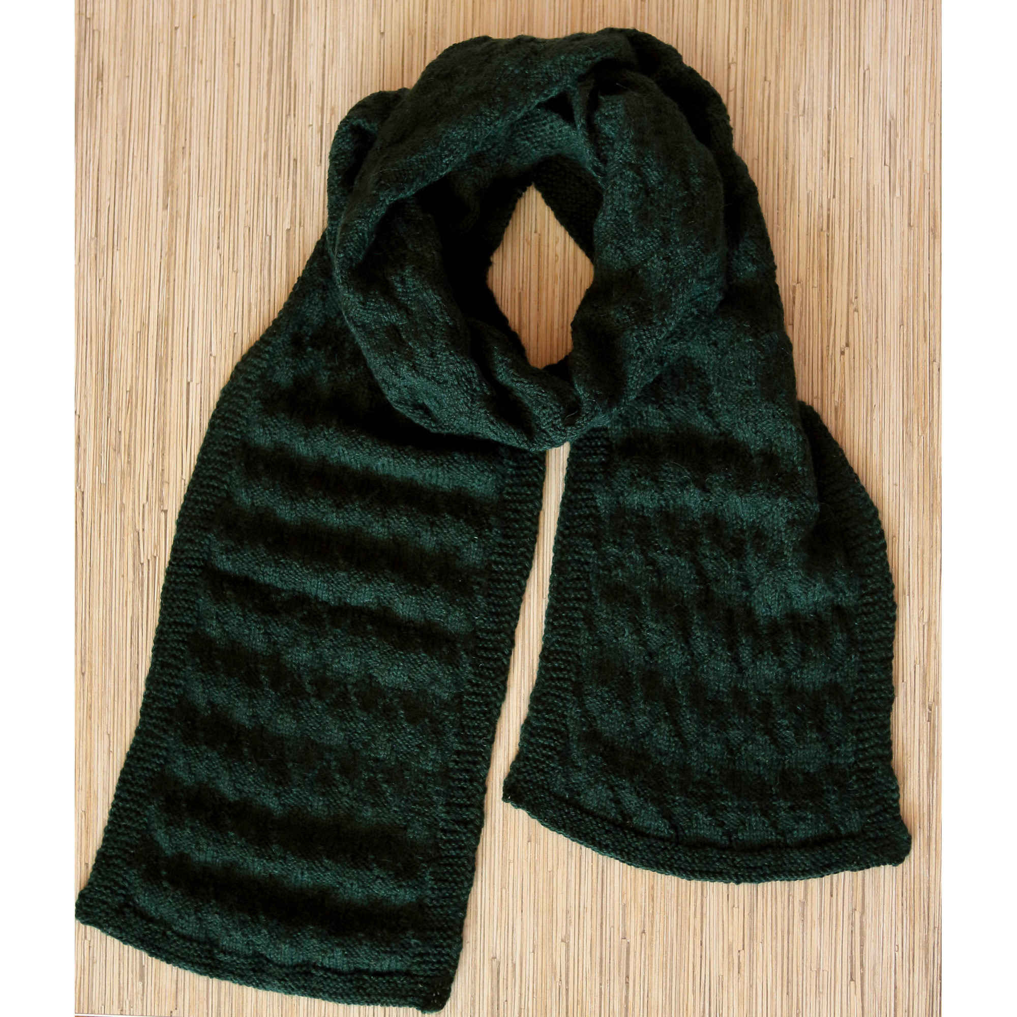 Knitted Infinity Scarf Green Winter Scarf