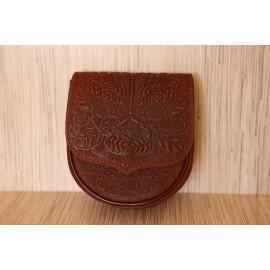 Leather folksy crossbody bag, handle strap, accessory woman