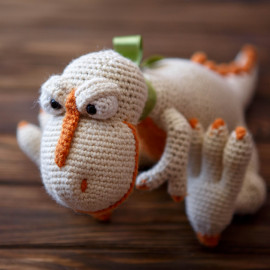 Orange Crush White Dino Hand Crocheted Toy