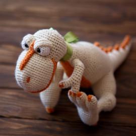 Orange Crush White Dino Hand Crocheted Toy