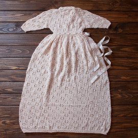 Loosely Hand knitted Traditional Christening Dress Baby Girl 7