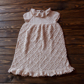 Special Occasion Dress Vintage Knit Dress Beige 10-12 months