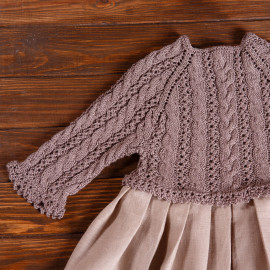 Hand knitted and sewn Girl Casual Linen Dress Solid 3/4 Sleeve