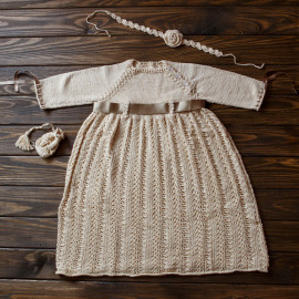Baby Baptism Gown with Drawstring Bag & Headband, 10-12 months