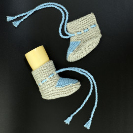 Hand Knitted Baby Вoots Newborn Blue Beige Color