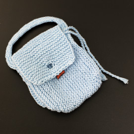Entirely Hand Knitted Drawstring Purse Children's Play
