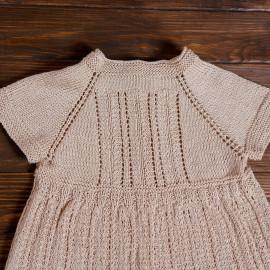 Hand Knitted Summer Dress Pouch Minimalist Beige Natural 100%