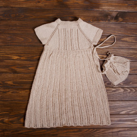 Hand Knitted Summer Dress Pouch Minimalist Beige Natural 100%