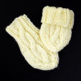 Semi-Wool Baby Hand Knit Set Newborn Size Unisex Off-White Color