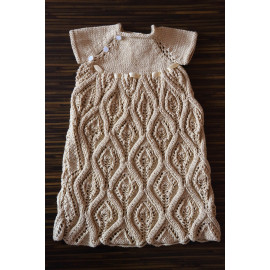 Hand Knitted Infant's Dress Beige Color Newborn