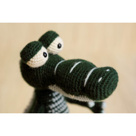 Crocheted Forest Green Alligator For Different Aged Children