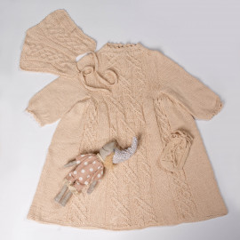 Handmade Christening Gown Boy Beige Dress