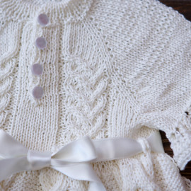 Hand Knitted Baby Boy Christening Dress, Size 3-6 months