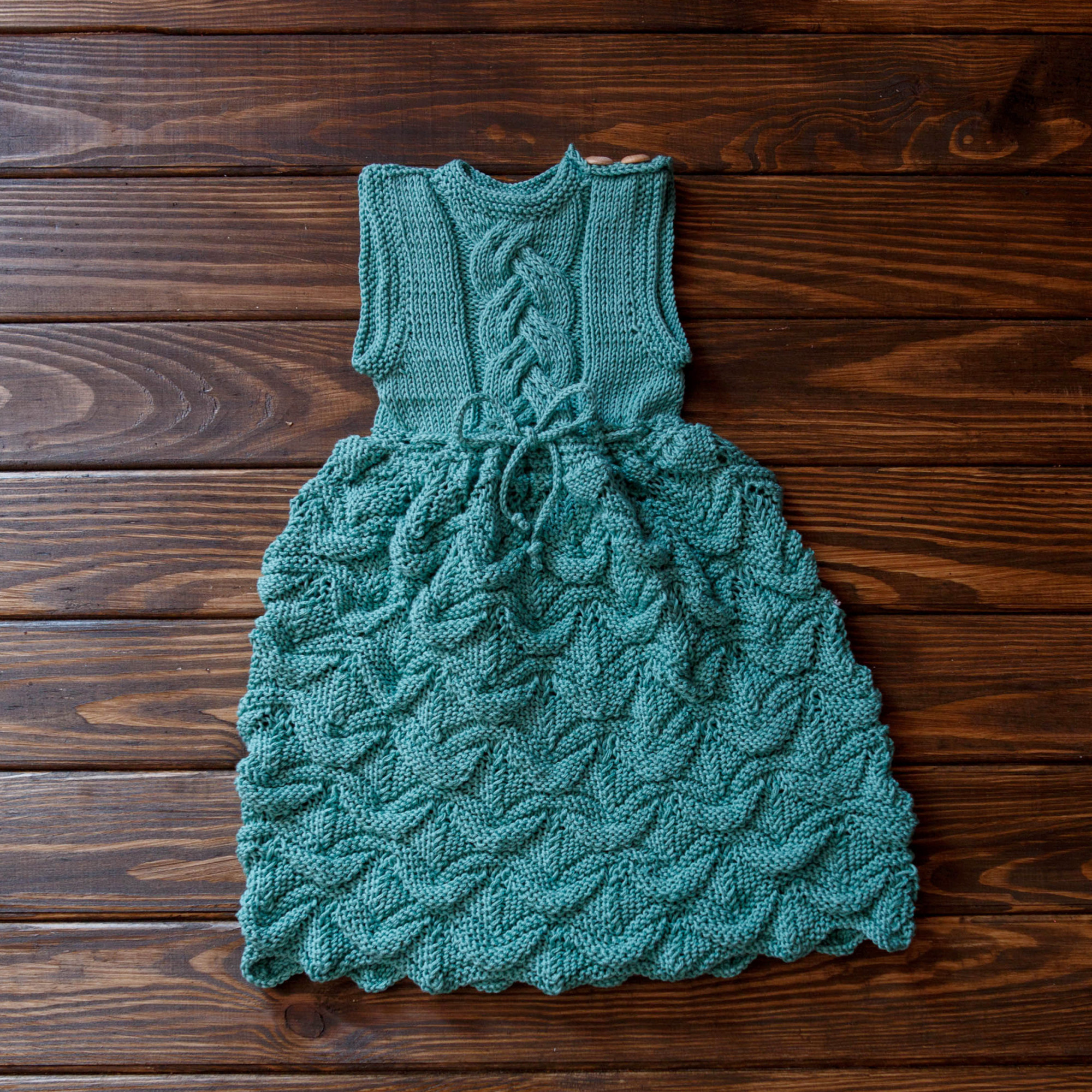 Sleeveless Baby Girl Dress Forest Color Wooden Buttons Size 6-9
