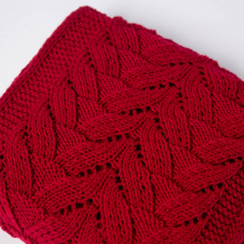 Elegant red scarf for women openwork hand-knitted