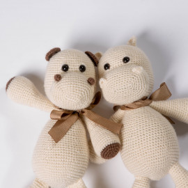 Hippo toy for kid Knitted crochet with high quality wool