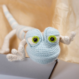 Funny Lizard. Soft toy. Striped lizard