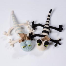 Funny Lizard. Soft toy. Striped lizard