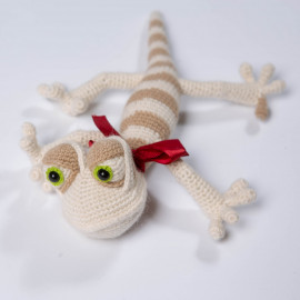 Lizard toy. Soft toy. Striped lizard for baby