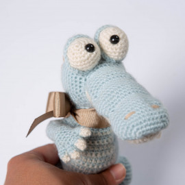 Crocodile toy. Crochet crocodile for baby