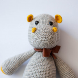 Gray hippo. Crochet Hippo Toy Hippo for Kid