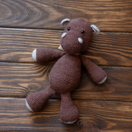 Toy Hippo. Brown Hippo. Crochet toy Hippo for baby
