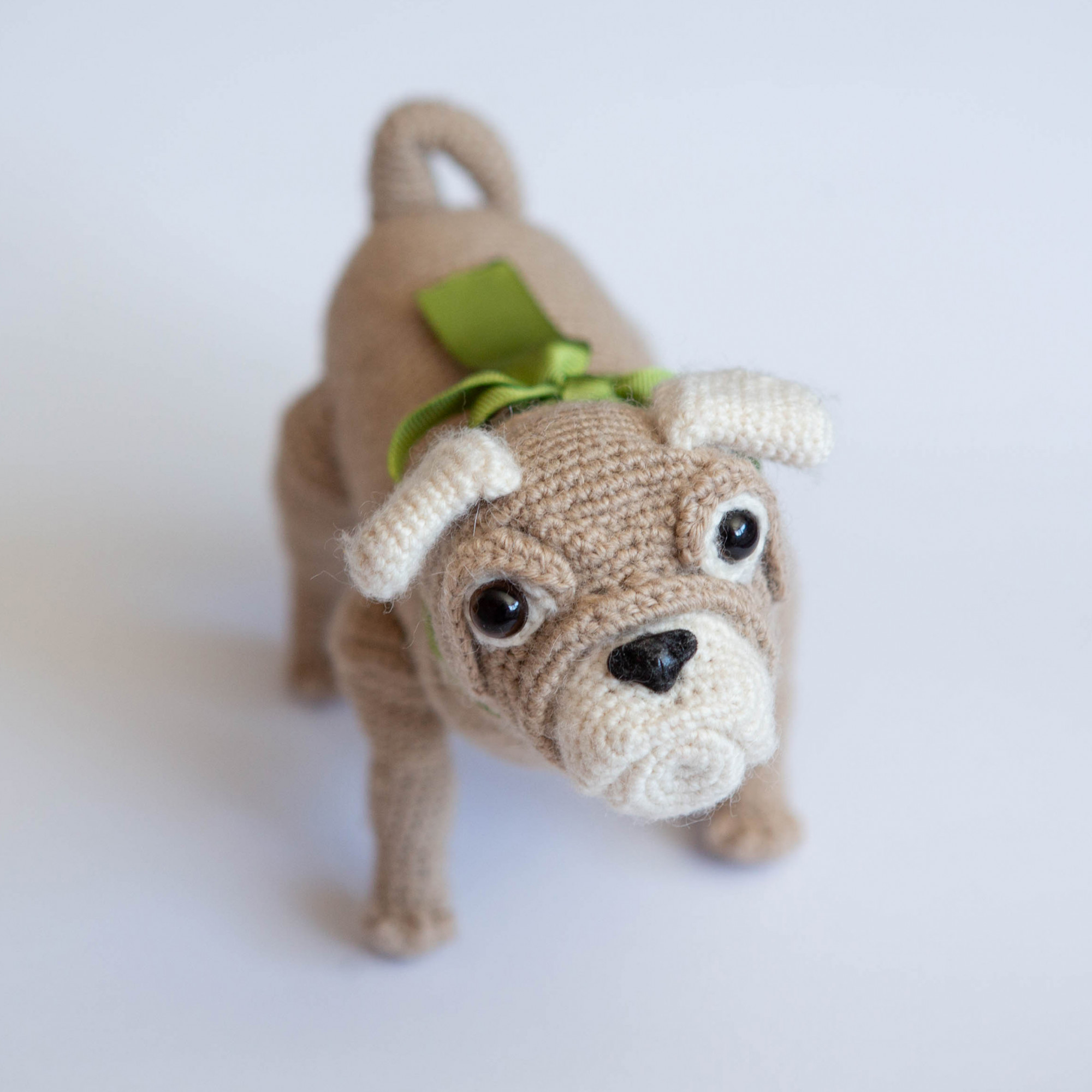 Dog toy for kid. Crochet soft toy. Pet Pug