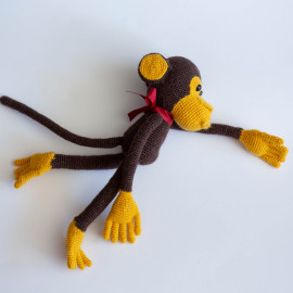 Brown Monkey. Monkey toy for children. Crochet monkey