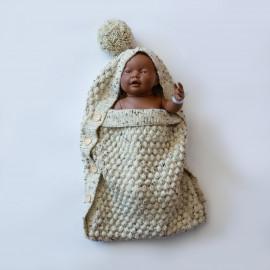 Envelope for newborns. Hand-knitted woolen bag for newborns