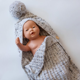 Gray envelope for newborns. High quality hand-knitted envelope