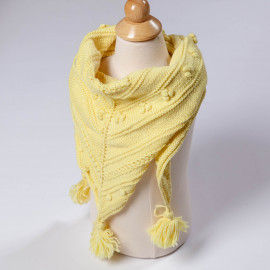 Yellow scarf for a girl. Handmade lace-knit scarf