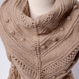 Beige shawl - scarf for a girl 6T. Handmade lace knit scarf
