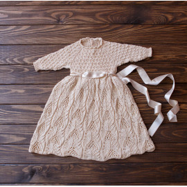 Church Going Dress Vintage Knit Seamless Baby Dress 3-6 Months