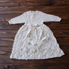 Elegant White Hand Knitted Baby Girl Christening Dress 3-6