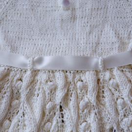 Elegant White Hand Knitted Baby Girl Christening Dress 3-6