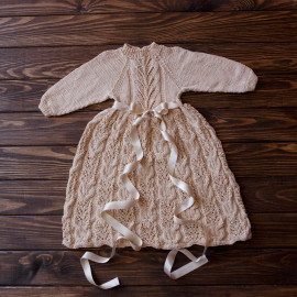 Baby Knit Dress Cotton Beige 3-6 months